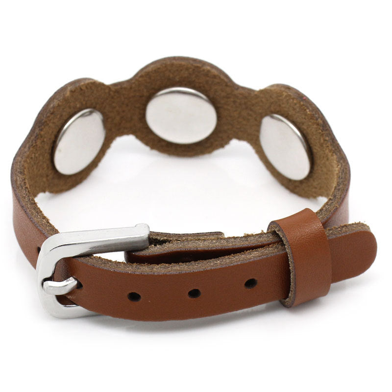 "1 Chunk Noosa Leather Buckle Bracelet -  Brown - 26cm long(10 2/8"") - Popper Snap on"