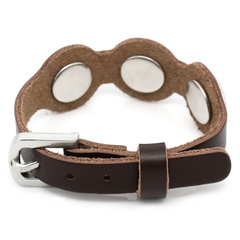 "1 Chunk Noosa Leather Buckle Bracelet -  Dark Brown - 26cm long(10 2/8"") - Popper Snap on - Genuine Leather Chunk Bracelet (29063)"