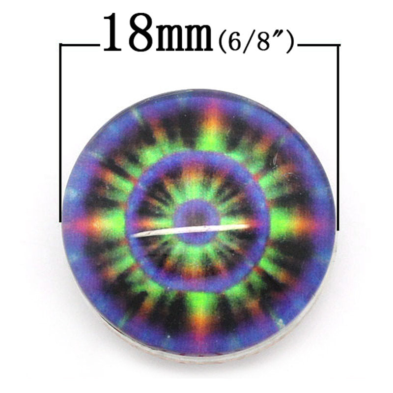 "1 Chunk Noosa Charm Button - Multi Color Purple - 18mm (3/4"") - Popper Snap on - Purple Noosa Chunk Charm (28080)"