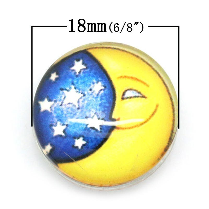 "1 Chunk Noosa Charm Button - Moon Stars - 18mm (3/4"") - Popper Snap on - Yellow Blue Moon Stars Noosa Chunk Charm (28104)"