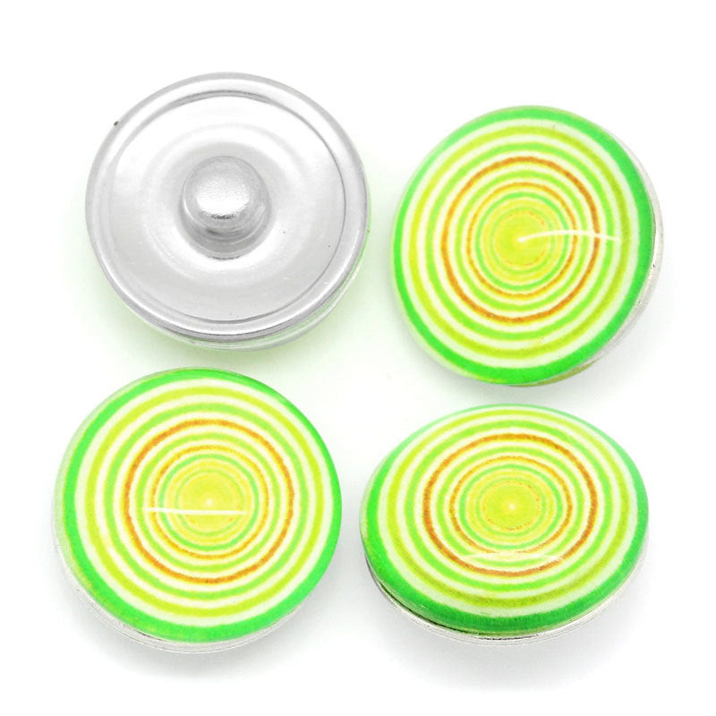 "3 Chunk Noosa Charm Button - Multi Color Yellow - 18mm (3/4"") - Popper Snap on - Yellow Noosa Chunk Charm (28035)"