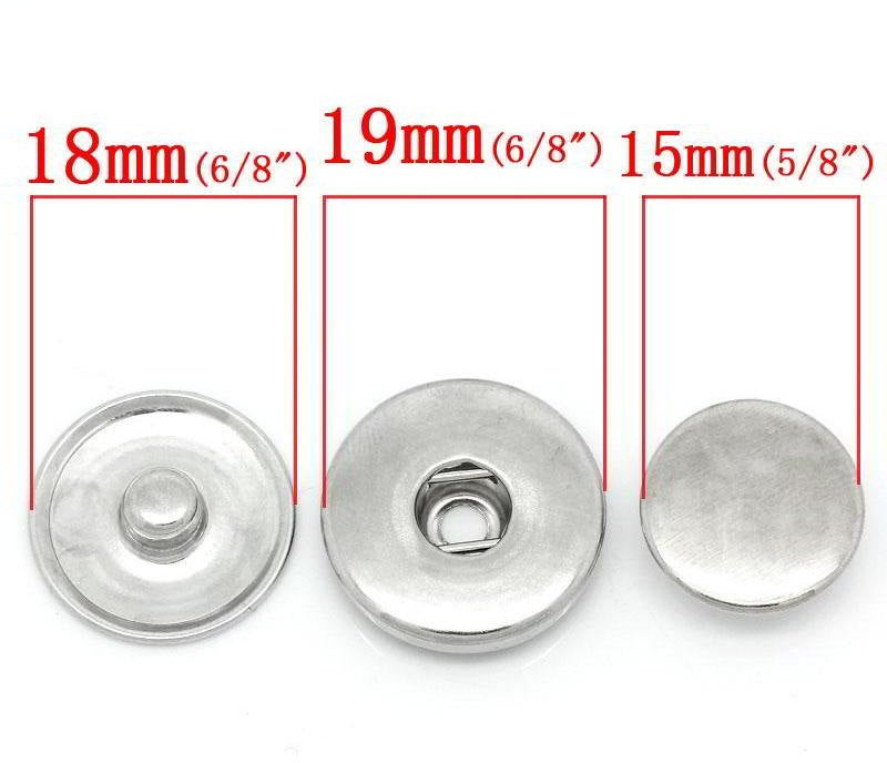 20 Chunk Noosa Silver Charm Stud DIY 3 part - Popper Snap on