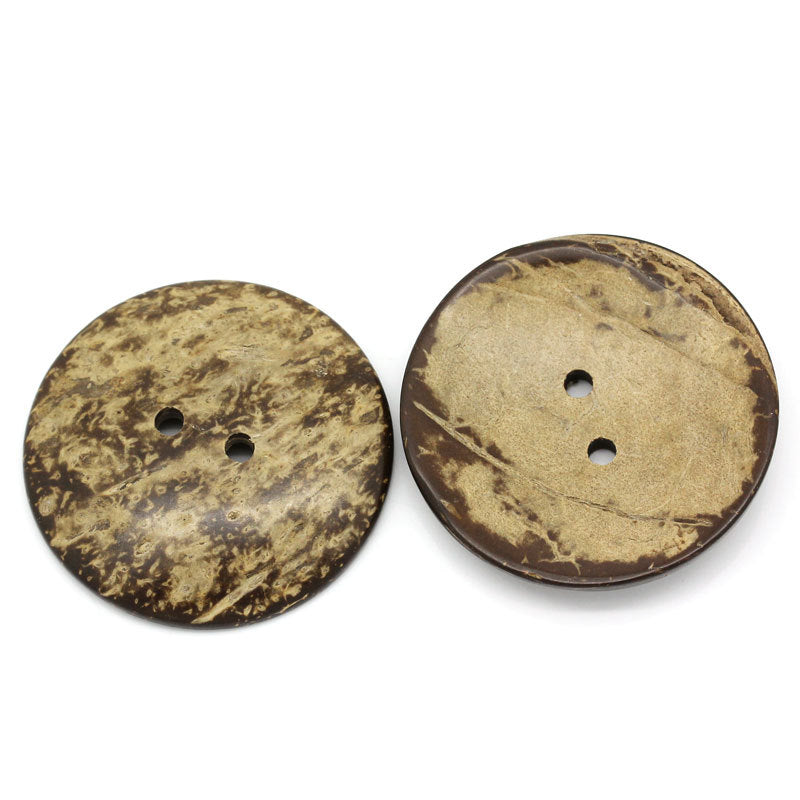 5 Extra Large Coconut Shell Wooden Buttons - 2 inch - 5cm -  Wood Buttons