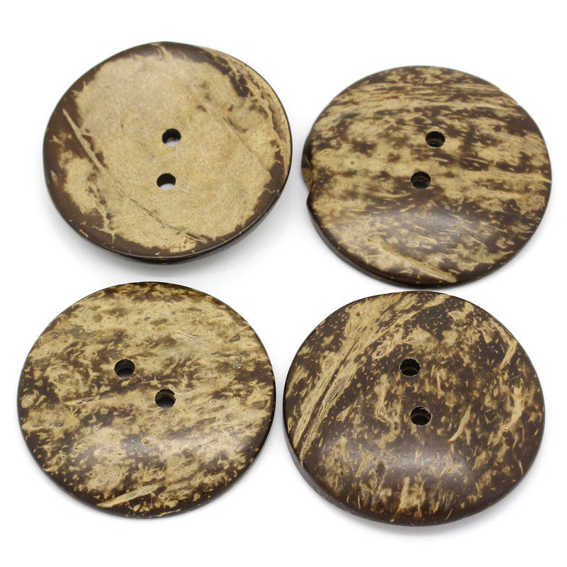 2 Extra Large Coconut Shell Wooden Buttons - 2 inch - 5cm -  Wood Buttons