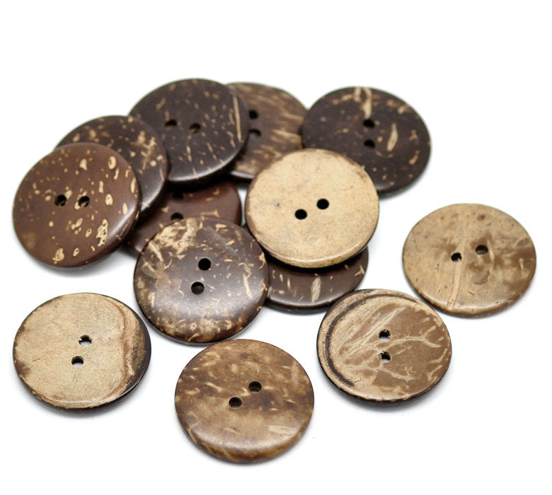 Coconut Shell Wooden Buttons - 1 inch - 25mm - Wood Buttons