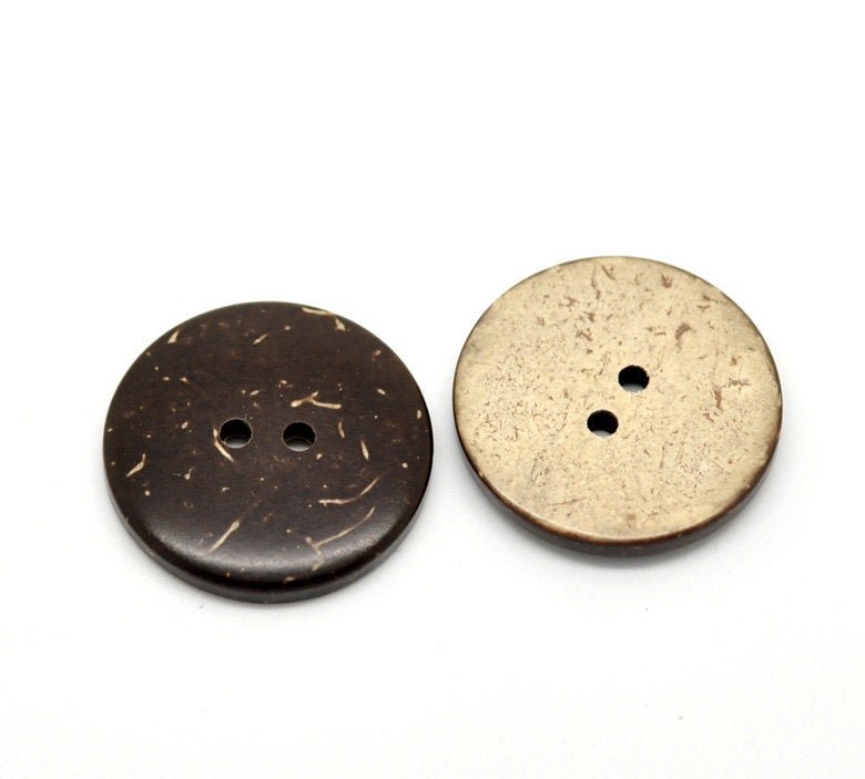 10 Coconut Shell Wooden Buttons - 1 inch - 25mm - Wood Buttons
