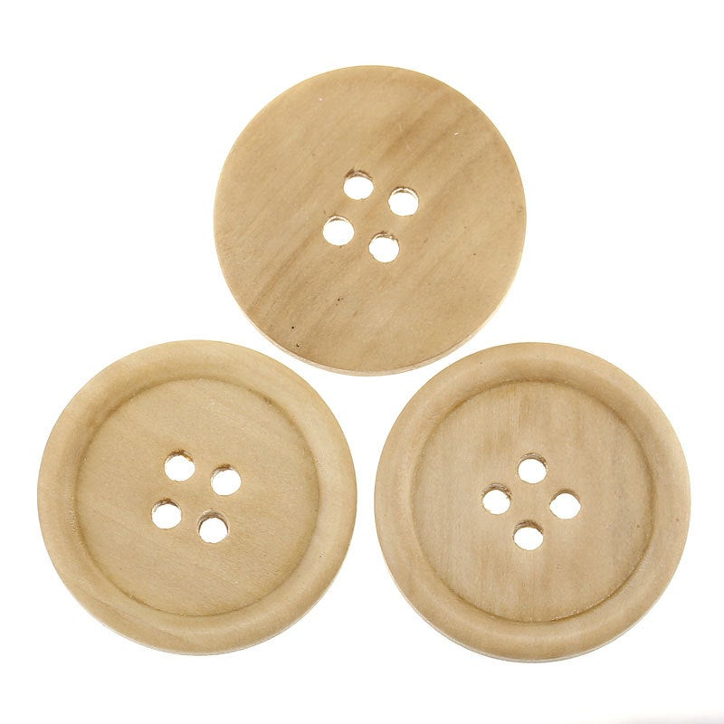Large Natural Wooden Button - 3cm - 30mm - 1 1/8 inch -  4 hole