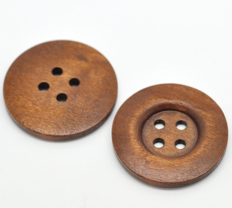 10 Large Brown Wooden Button - 35mm - 1 3/8 inch -  4 hole
