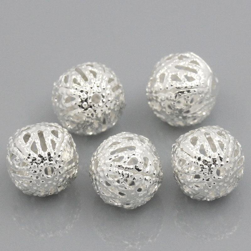 25 Silver Plated Filigree Spacer Beads - 10mm - Silver Finish Bead (25639)