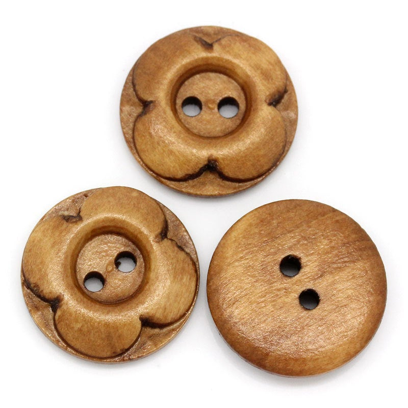 25 Brown Wooden Button - Carved Flower - 4 Holes - 20mm