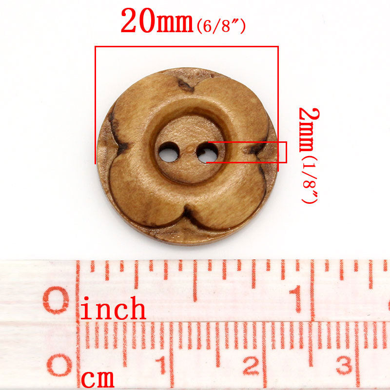 50 Brown Wooden Button - Carved Flower - 4 Holes - 20mm