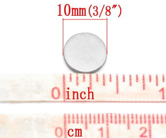 50 Magnets Disc 10mm Rare Earth Neodymium 1.5mm (3/8 inch) (17050)