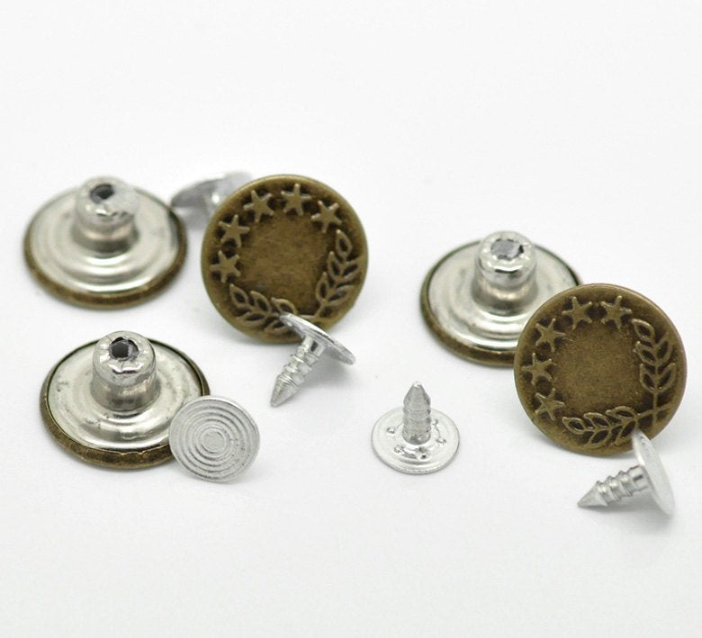 10 Antique Bronze Metal Jean Tacks - Jean Buttons - Star Design - 17mm x 8mm - Metal - Screw Back - No Sew (19204)