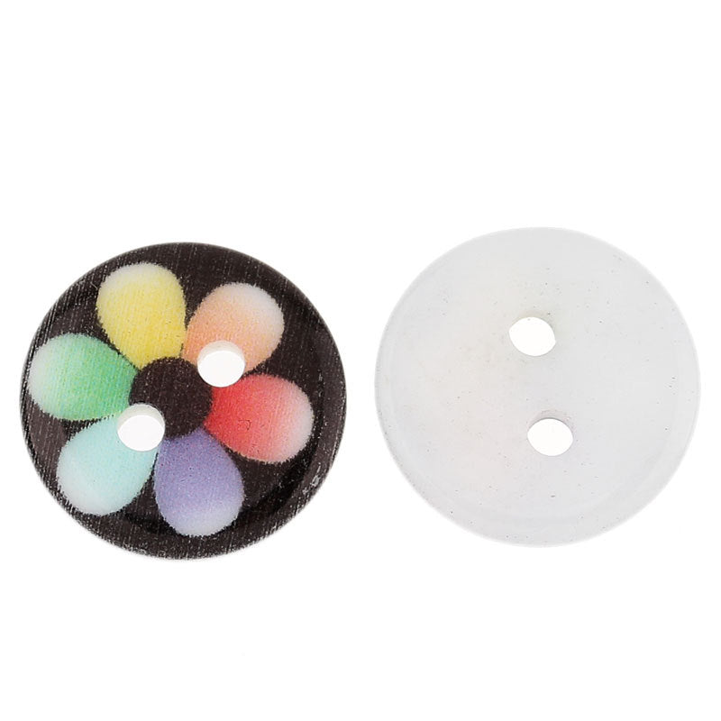 25 Acrylic Resin Buttons - 13mm (1/2 inch) -  Flower Design - Multi Color - 2 Hole - Resin Button (31540)