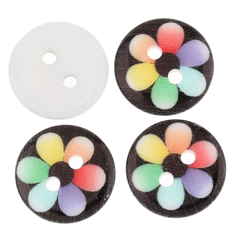 25 Acrylic Resin Buttons - 13mm (1/2 inch) -  Flower Design