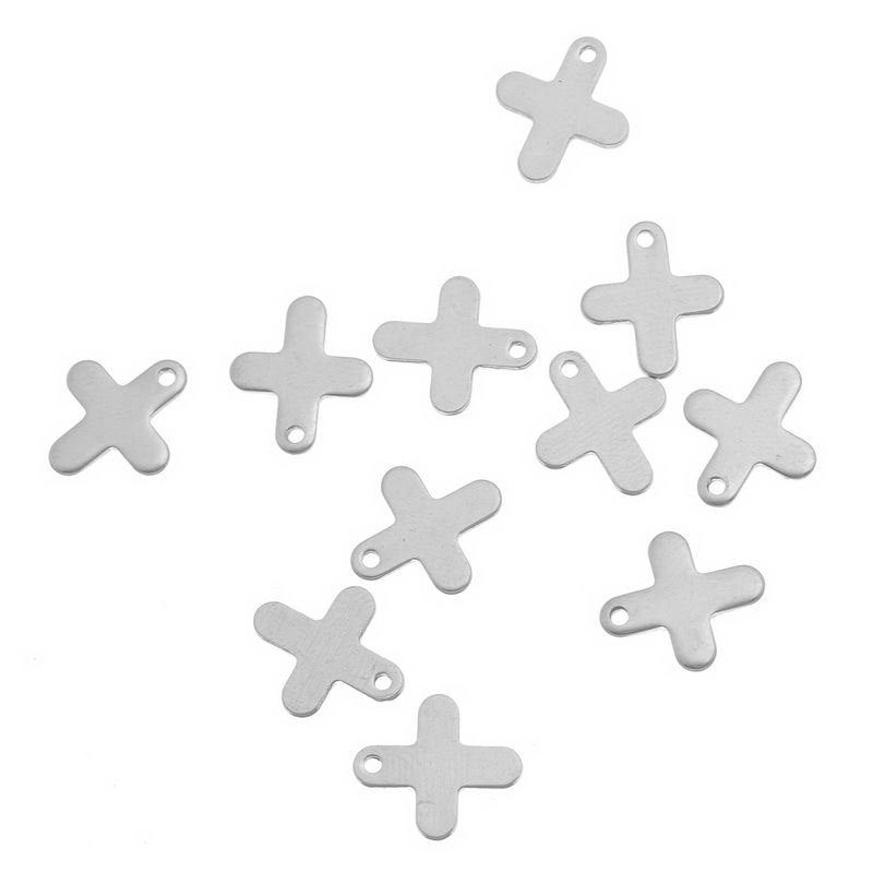 "2 Stainless Steel Charms Pendants - Cross - 12mm x11mm( 1/2"" x 3/8"") - Silver Finish - Lead Nickel Free"