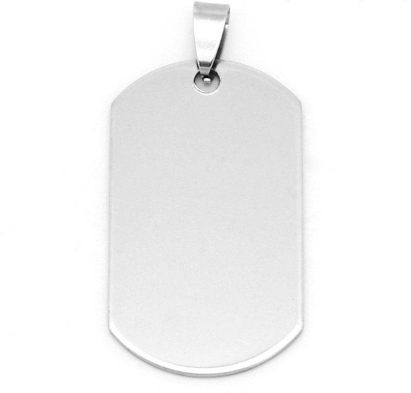"2 Stainless Steel Charms Pendants - Rectangle - 5cm x 2.4cm (2"" x 1"") - Silver Finish - Metal Charm or Pendants (28776)"