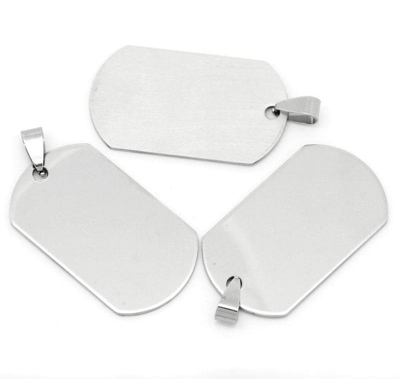 "2 Stainless Steel Charms Pendants - Rectangle - 5cm x 2.4cm (2"" x 1"") - Silver Finish"