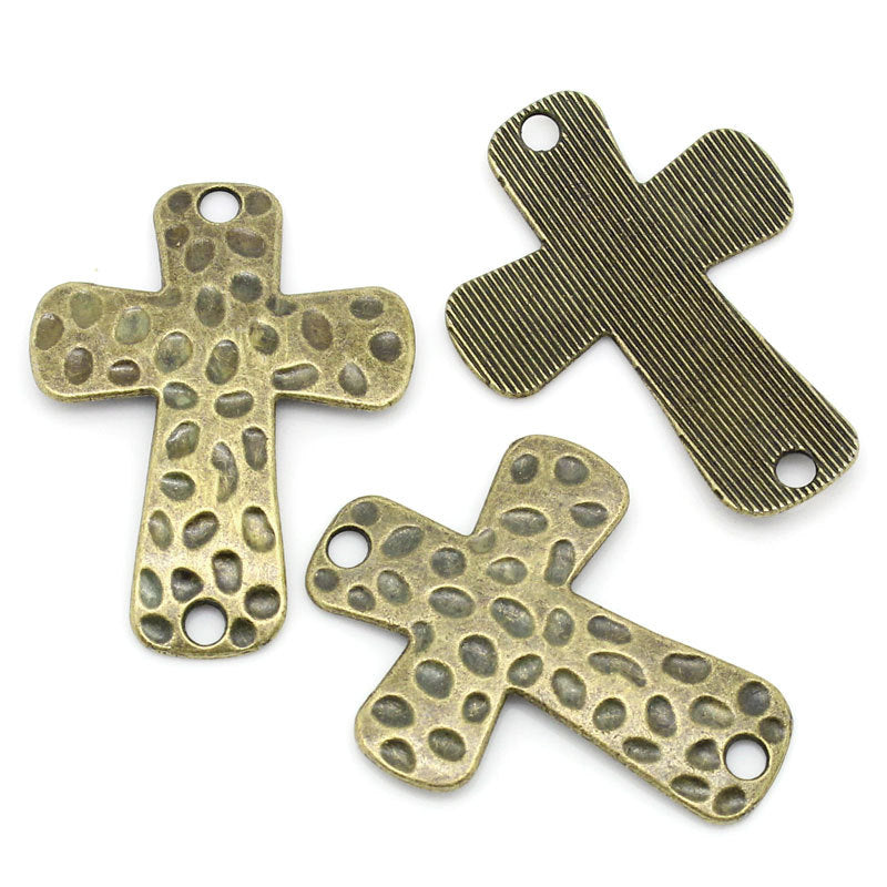"5 Bronze Cross Connectors -  Textured Antique Bronze - 3.9cm x 3cm (1 1/2"" x 1 1/8"") - Bronze Cross Charm (02095)"