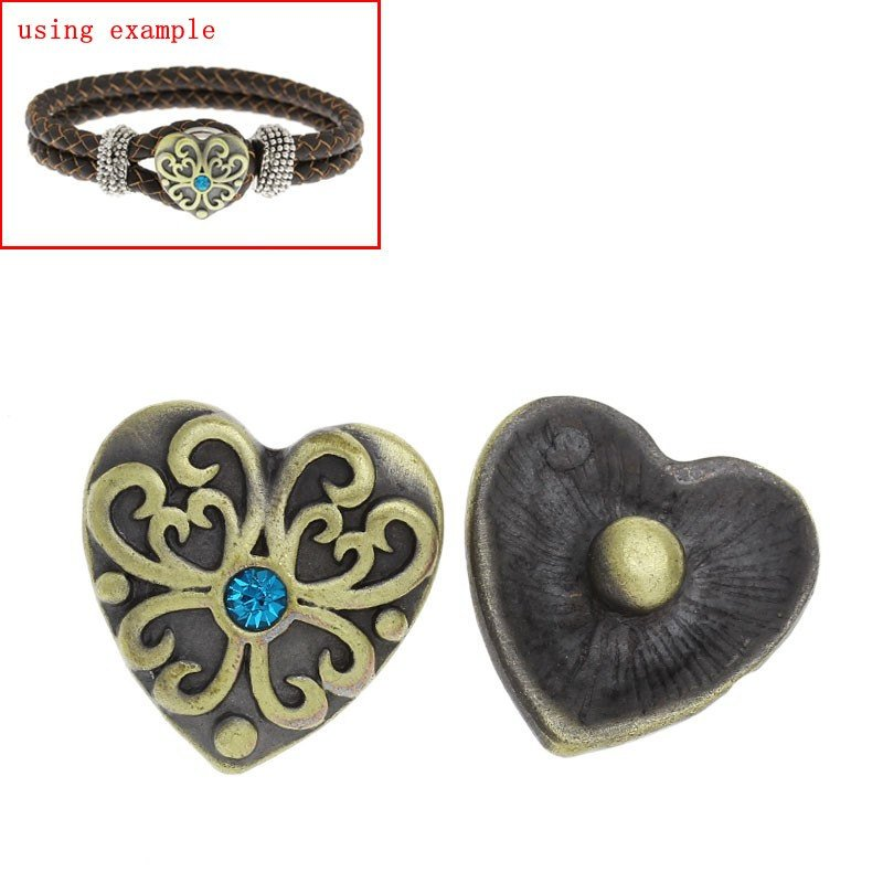 "1 or 5 Chunk Snap on Popper Charm Button - Heart Shaped - Bronze - Blue Rhinestone - 20mm Dia.(3/4"") (0125)"