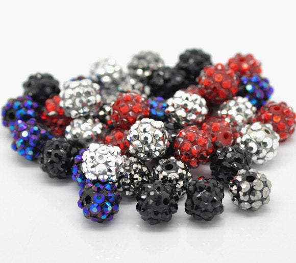 10  or 50 Acrylic Rhinestone Beads 12mm - Mixed Colors