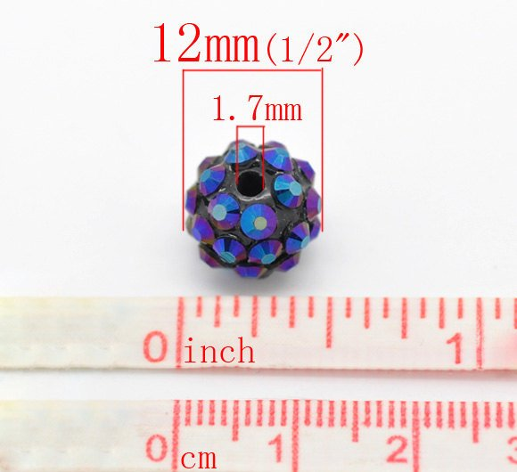 "10  or 50 Acrylic Rhinestone Beads 12mm - Mixed Colors - 12mm (1/2"")  (16508)"
