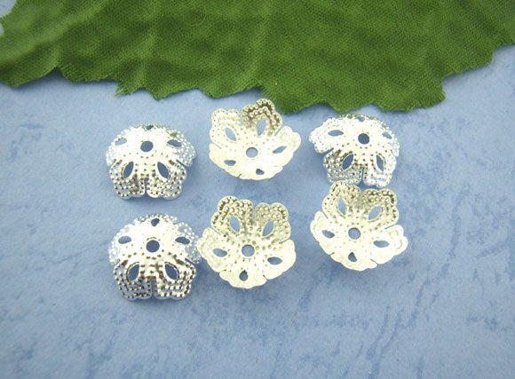 10/100/200  Silver Plated Bead Caps - Filigree Flower Design - 14mm
