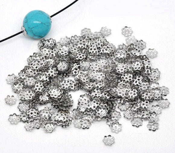 100 Silver Bead Caps - 6mm - Fits 8mm to 14mm Beads