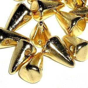 12 - 24K Real Gold Plated Czech Handmade Glass Baby Spikes - Cone Shaped - 4X7mm