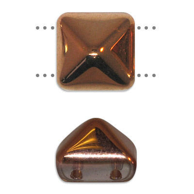 6 - 12MM Crystal Capri Czech Glass Pyramid 2-hole Beadstuds (BST12-00030-27101)