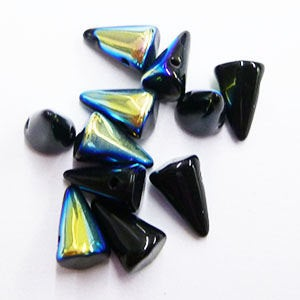 12 - Black AB Czech Handmade Glass Baby Spikes - Cone Shaped - 4X7mm - 5X8mm (SPK08