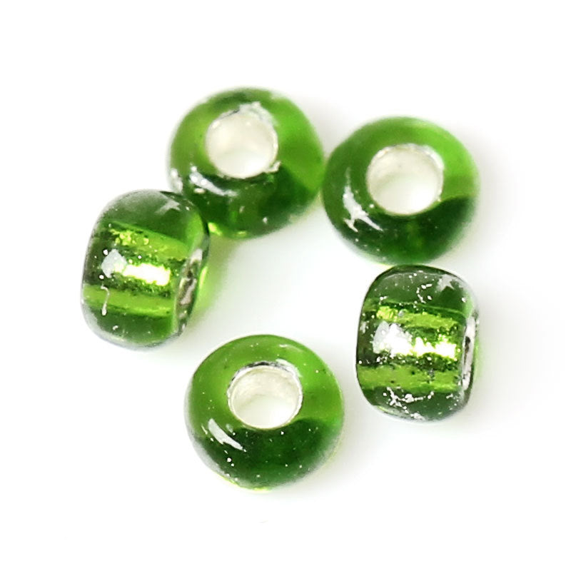 10/0 Glass Seed Beads 25g - 3125 Beads  - Green Foil - 2mm x 2mm - Small Glass Beads (33605)