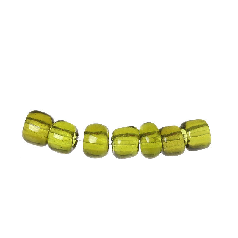 8/0 Glass Seed Beads 25g - 1000 Beads  - Olive Green - 3mm x 2mm