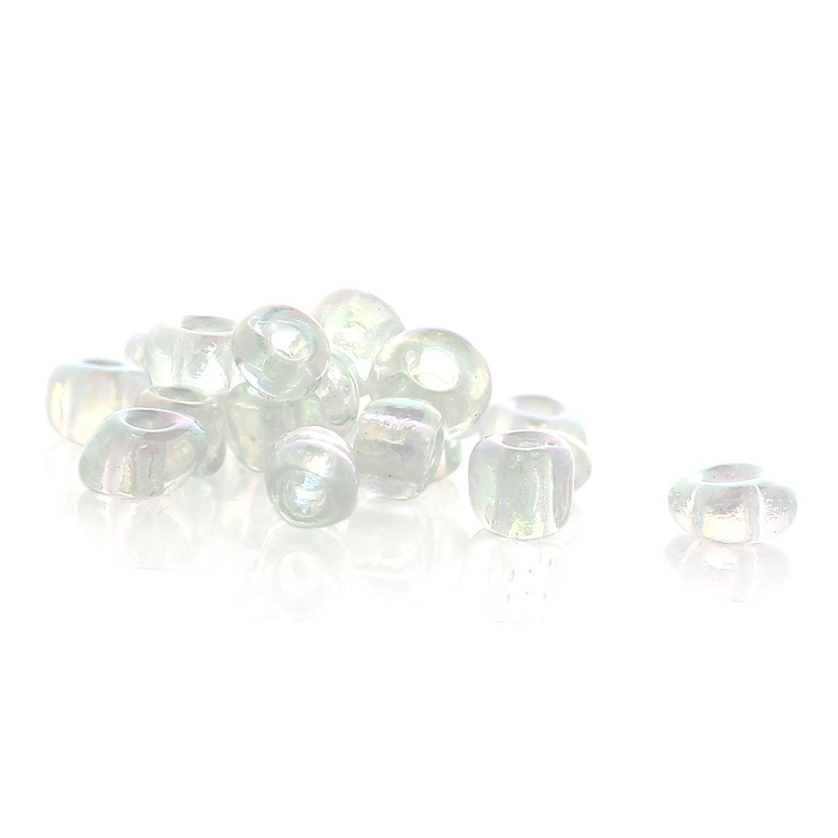 10/0 Glass Seed Beads 25g - 3125 Beads  -Transparent AB Color - 2mm x 2mm