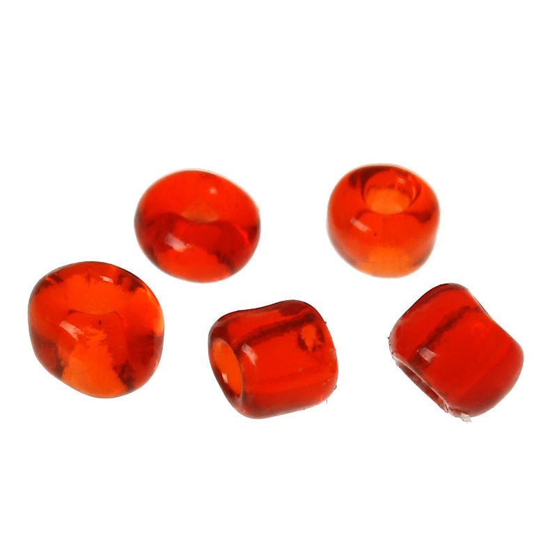 6/0 Glass Seed Beads 25g (333 Beads)  - Red - 4mm x 3mm