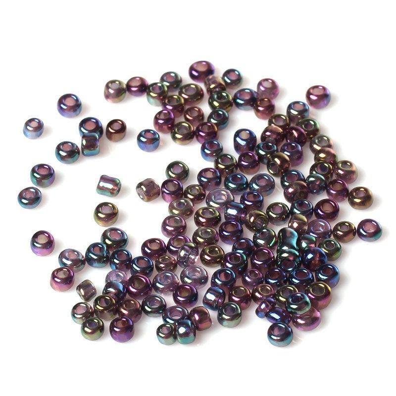 8/0 Glass Seed Beads 25g (Approx. 833 Beads) - FREE Storage Vial - Mixed AB Color - 3mm x 2mm