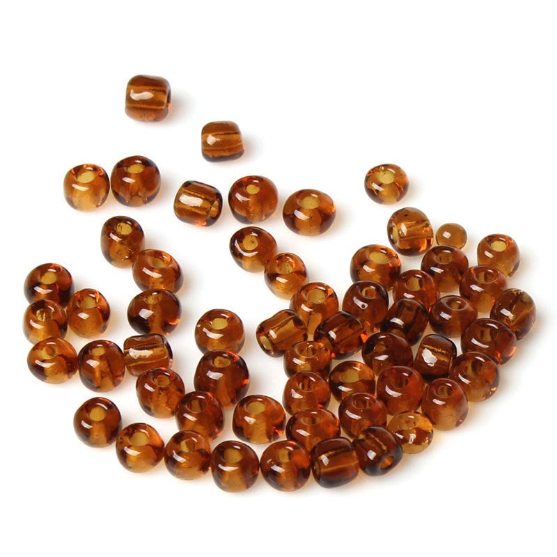 6/0 Glass Seed Beads 25g 1000 Beads  - Tawny - 4mm x 3mm