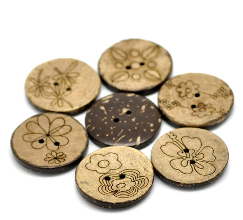 "30 Large Bulk Mixed Coconut Shell Wooden Buttons - 30mm (1 1/8"") - 2 Hole"