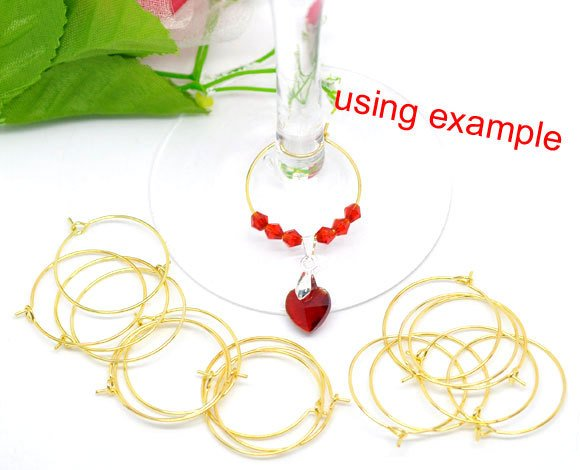 Gold Plated Wine Glass Charms - Gold Plated - Lead Nickel Free - 25mm 10/50/100 (08163)