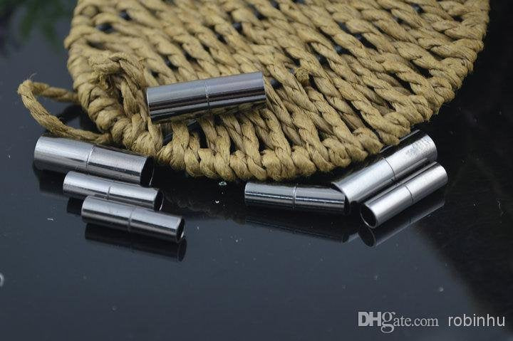 5 Gunmetal Magnetic Tube Clasps - 25mm x 7mm - Gunmetal Clasp for Leather (MC063)