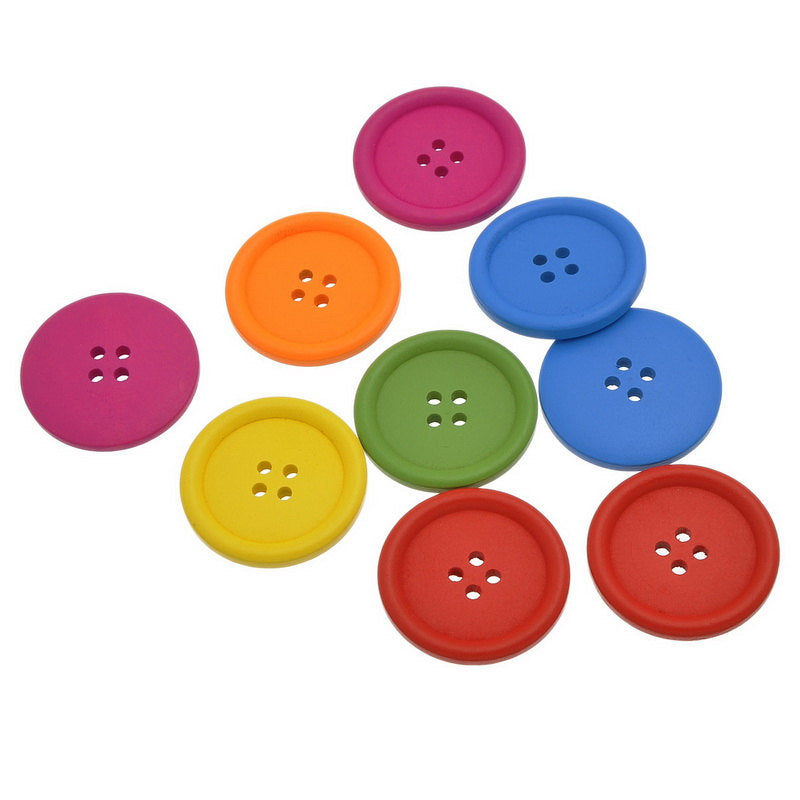 "30 Large Mixed Color Wooden Buttons - 40mm (1 5/8"") - Bright Colors - 4 Hole"