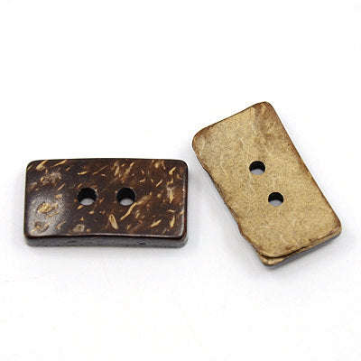 Rectangle Coconut Shell Wooden Buttons - 13mm wide, 25mm long -2 Hole -  Wood Buttons -  Coconut Wood (COCO