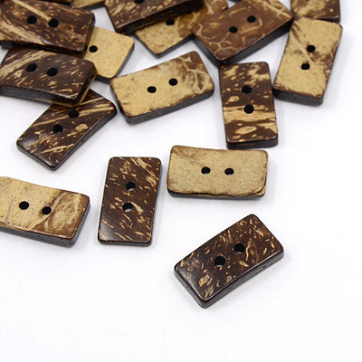 Rectangle Coconut Shell Wooden Buttons - 13mm wide, 25mm long -2 Hole