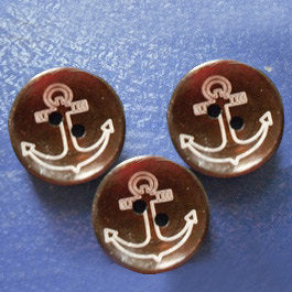 Brown Wooden Button - Anchor Design - 2 Holes - 20mm