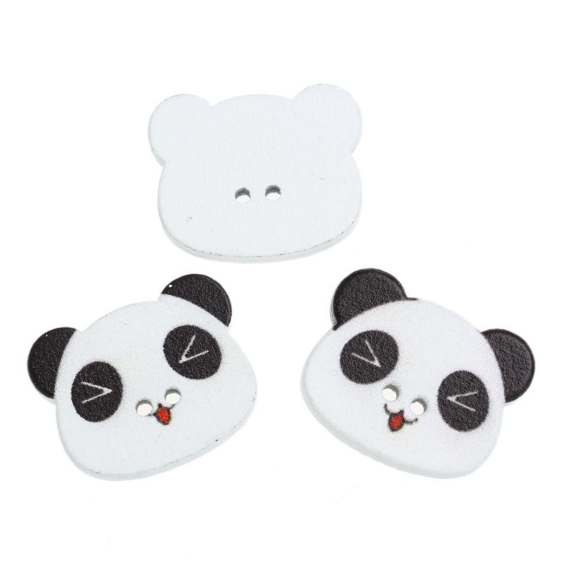"Panda Wooden Buttons - 23mm x 18mm  (7/8"" x 3/4"") - Black White"