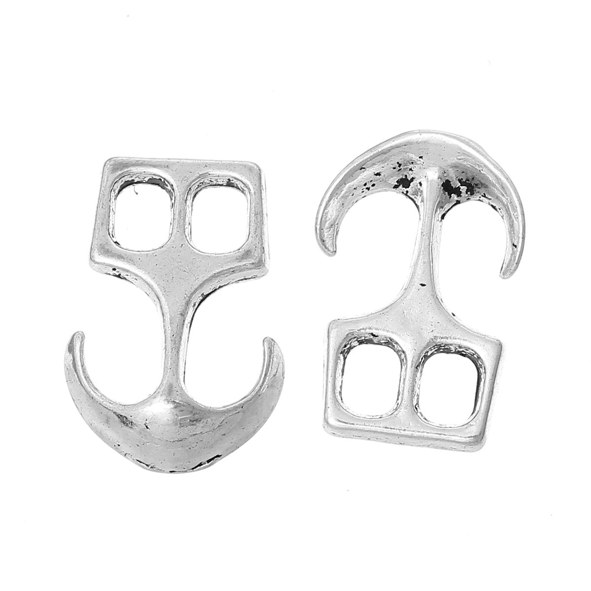 "Anchor Clasp Connector - Silver - 23mm x 16mm (7/8"" x  5/8"") - Silver Anchor Clasp for Leather Bracelet - Clasps for Leather Finding (34508)"