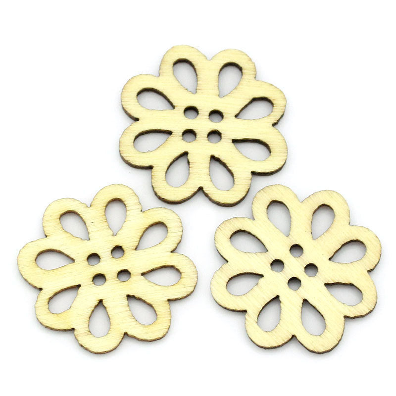 Natural Carved Wooden Buttons - Flower Shaped - 20mm x 21mm - 4 Hole - Natural Wood Button