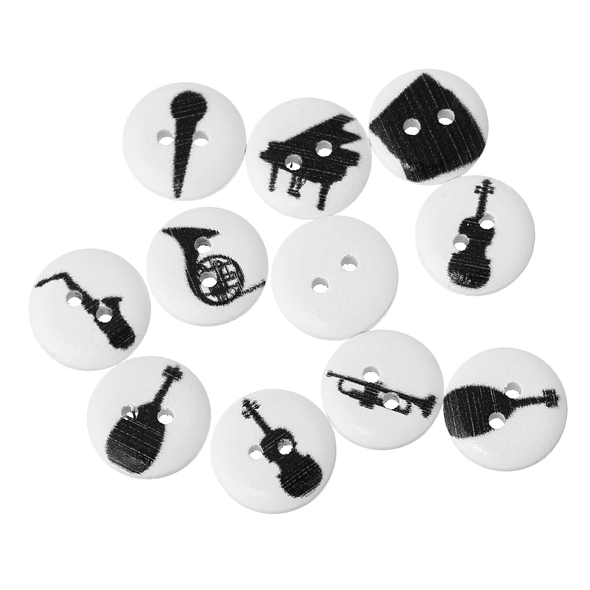 10 Musical Instruments Buttons Black - White Wooden Button - 15mm -  2 hole