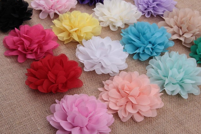 YELLOW - Large Chiffon Flowers - 4 Inch - Wedding Chiffon Petal Flowers - Headband Fabric Chiffon Flowers