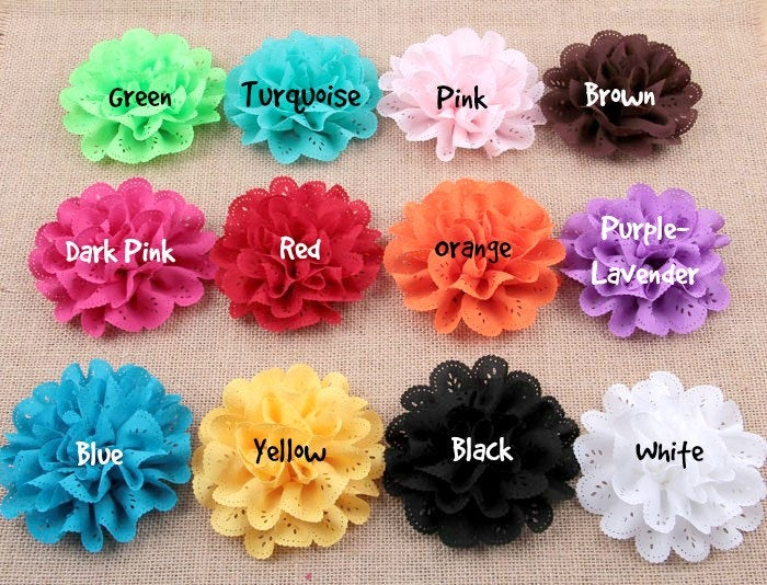 Large Mesh Lace Chiffon Flowers - 4 Inch - Fabric Flower - Wedding Lace Petal Flowers - Headband Fabric Flowers